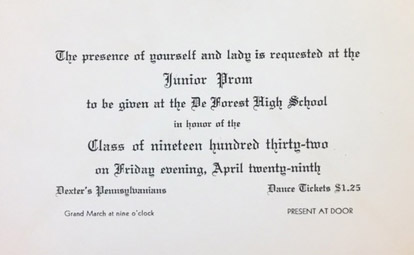 Invitation received by Hattem brothers. Class of 1932. Invitation from 1931.