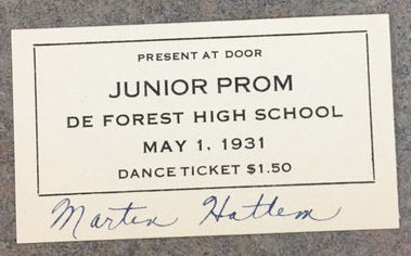 1931 DeForest prom admission ticket